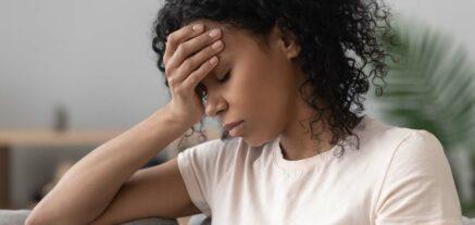 Patient suffering head ache pain (Migraine)